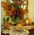 AnExtraordinaryDay.net | Fall Mantle Wannabe | Asters & Amaranth Vignette in a Longaberger Basket