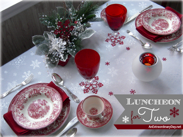 Red Snowflake Soup Luncheon Table Setting - AnExtraordinaryDay.net