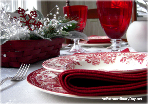 Tablescaping for Winter with Red Staffordshire Transferware - Red Longaberger Basket - Table setting - AnExtraordinaryDay.net