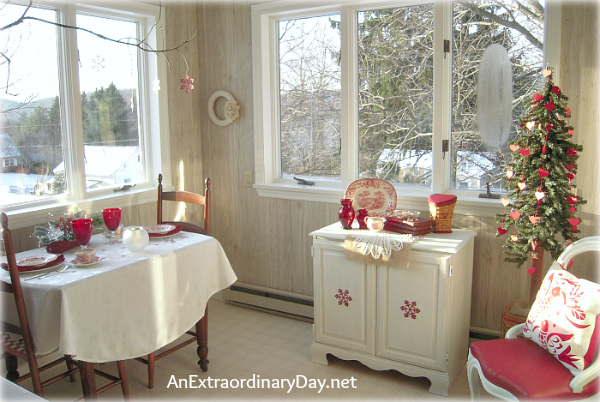 Winter Home Decor with Red & White - AnExtraordianryDay.net