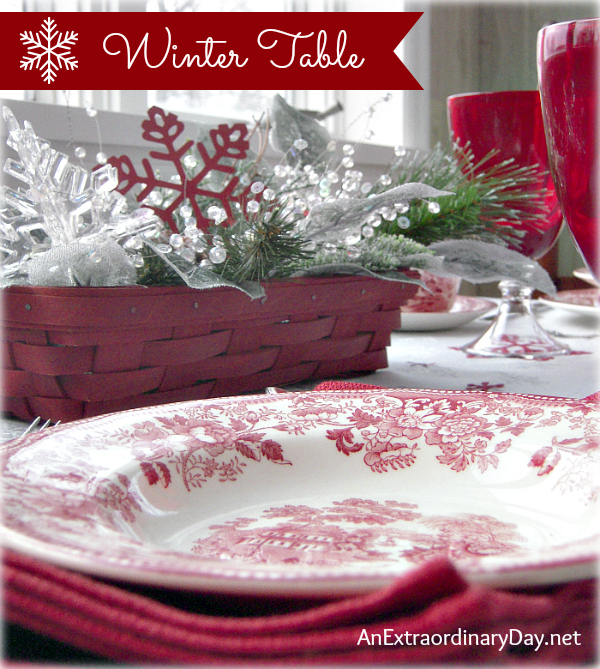 Winter Table Setting Theme - Red Dishes & Red Snowflakes - AnExtraordinaryDay.net