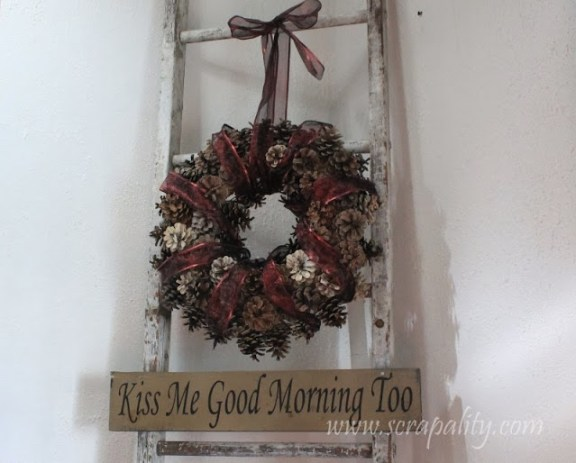 Vintage Ladder & Pine Cone Wreath from Scapability :: Project Inspire{d} feature :: AnExtraordinaryDay.net