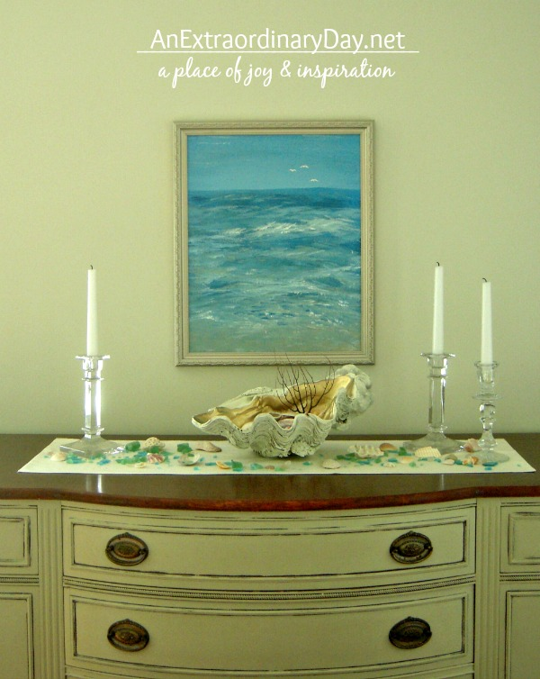 Coastal Vignette ::  ASCP Sideboard :: Handpainted art :: DIY Clamshell  :: AnExtraordinaryDay.net