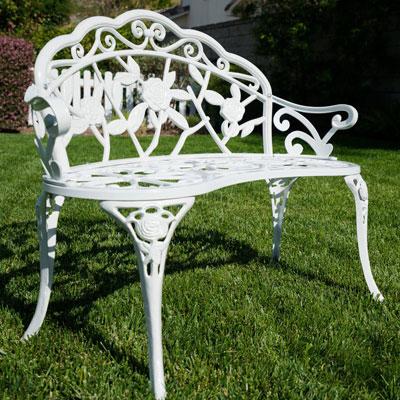 Rose Iron Garden Bench