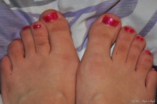 Day 105 - Painted Toes - Hot Pink
