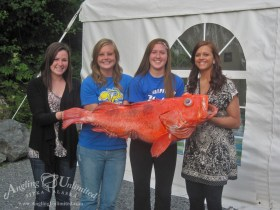 Hostesses Alexi, Annessa, Lindsey and Delanie holding the record rockfish