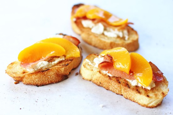 Peach, Bacon and Ricotta Crostini Wide