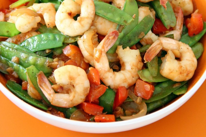 Stir Fried Prawns and Sugar Snap Peas Wide