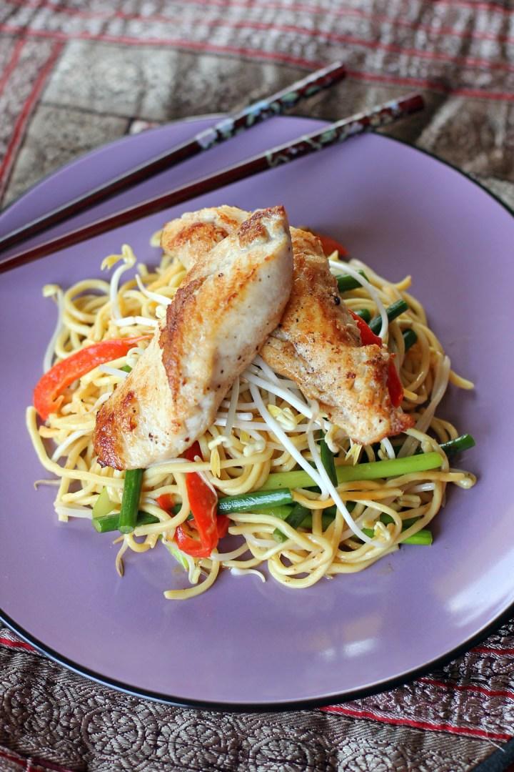 Pan Seared Monk Fish in Stir Fried Laksa Noodles