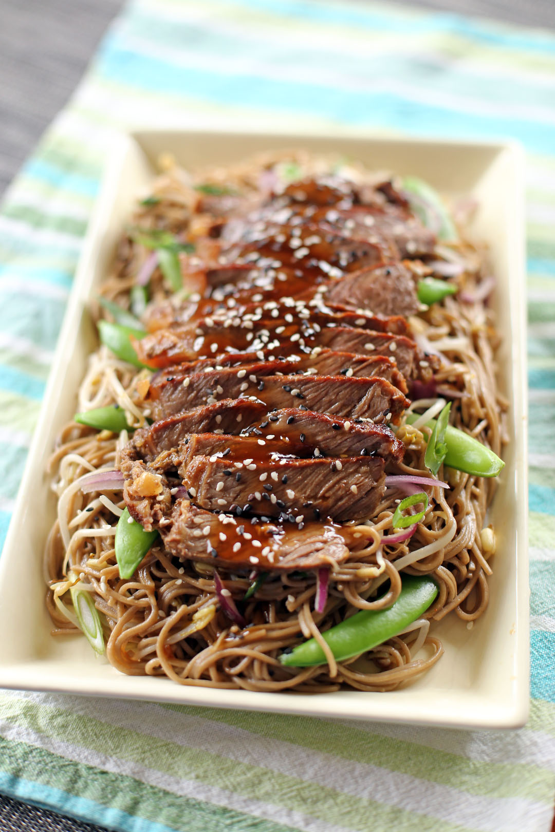 Fried Soba Noodles with sesame oil, red onions, spring onions, bean ...