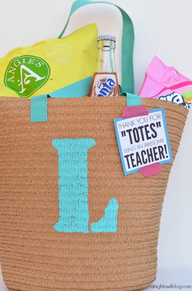 Monogram Teacher Tote for Teacher Appreciation
