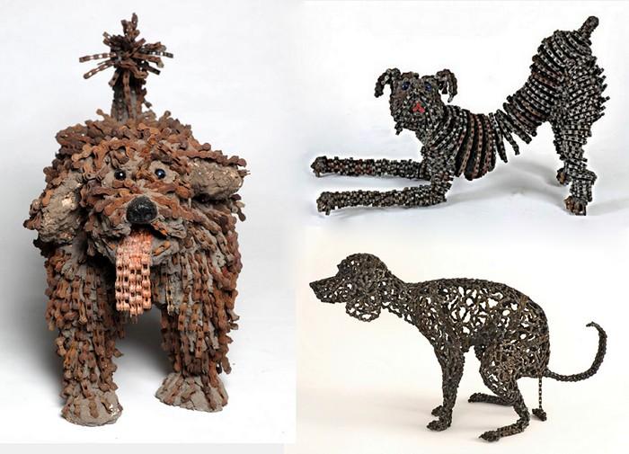 Скульптури собак з велосипедного ланцюга