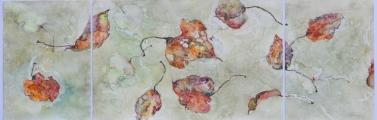 "<h5>Autumn Triptych lll</h5><p>Watercolor on Yupo  20""x48"" Framed</p>"