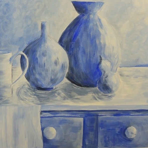 monochromatic still life art blue
