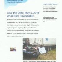 Underride Roundtable: Save the Date, May 5, 2016