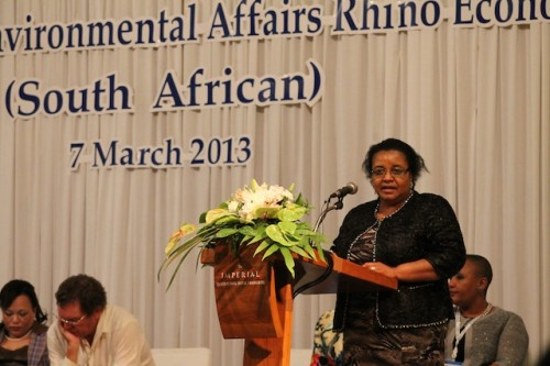 South Africa hosted a series of side events at CoP16 to push for legal trade in rhino horn. Photo by Annamiticus