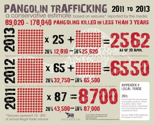 Pangolin Trafficking 2011 -- 2013: A conservative estimate based on seizures reported by the media. Image © Annamiticus