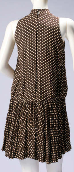 brown-pokadot-pleated-dress-back