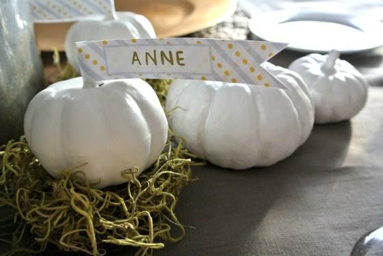 white pumpkin place card