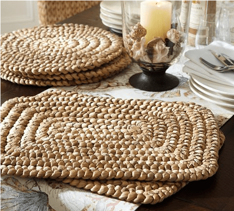These woven hyacinth placemats from Pottery Barn run $56 for a set of 4.