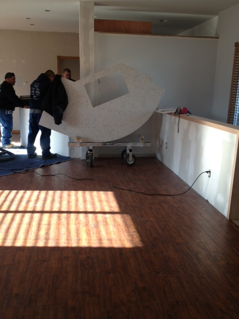 The install crew handled this large, expensive piece of material with astonishing speed.