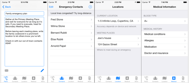 Emergency Plan iPhone App Screenshots - Plan, Contacts, Meeting places, Medical information