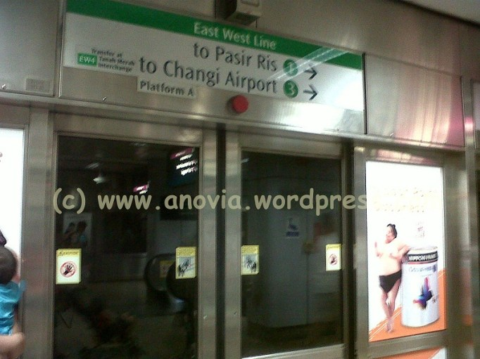 Ten minutes waiting for a train to come. I'm going to Pasir Ris another stop before arrived in Changi terminal