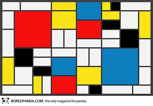 Πίνακας που μοιάζει με φύλλο του Excel με χρωματιστά τετράγωνα, είναι Mondrian.