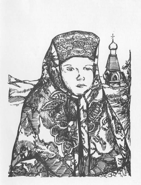 Russian-Woman-walking-in-snow-from-chapel