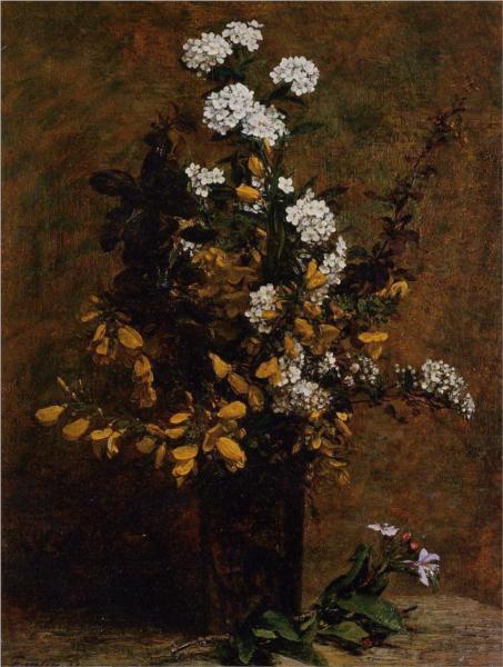Σκούπες και άλλα ανοιξιάτικα λουλούδια στο βάζο  Henri Fantin-Latour 1882