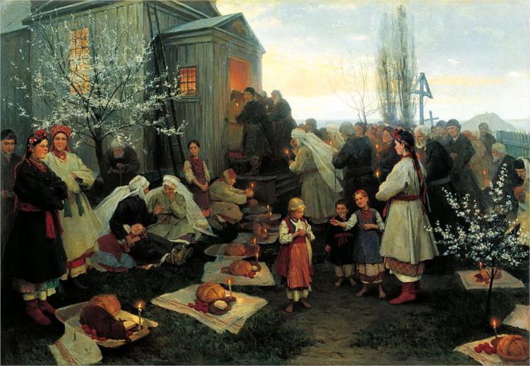 πρωινή προσευχή το Πάσχα Mykola Pymonenko 1891
