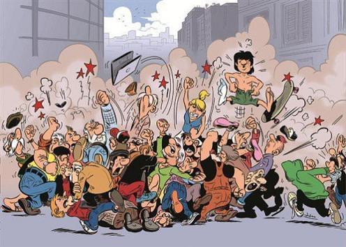 Καλλιτεχνική απεικόνιση του καβγά των γενεών από τον εικονογράφο Γιώργο Γούση