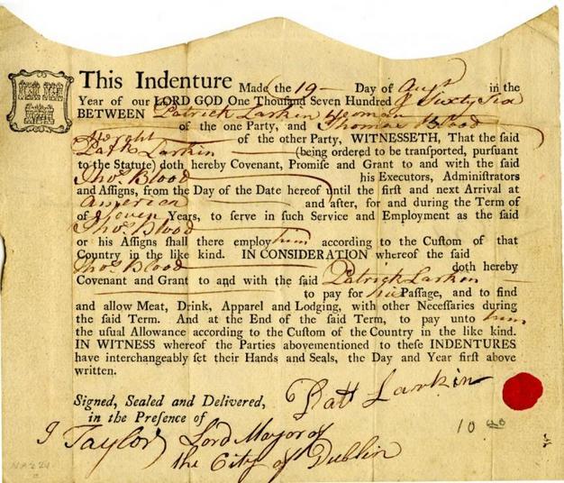 Συμβόλαιο μεταξύ του Patrick Larkin και του Thomas Blood, της 17ης Αυγούστου 1766. Βιβλιοθήκη της Βιρτζίνια.