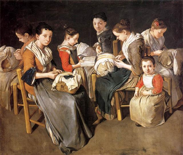 Giacomo CERUTI, Κοπέλες που μαθαίνουν ραπτική 1720