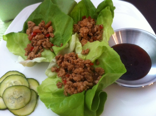 Turkey Lettuce Wraps with Cucumber Salad