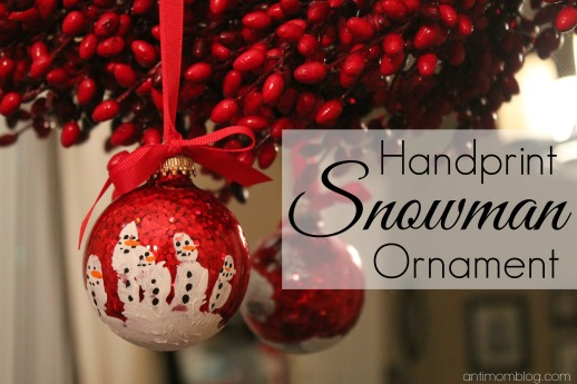 {DIY} Handprint Snowman Ornament