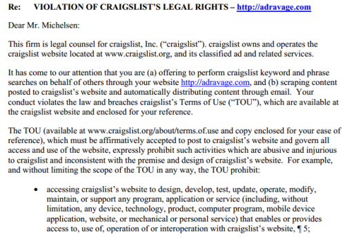 Craigslist Cease and Desist