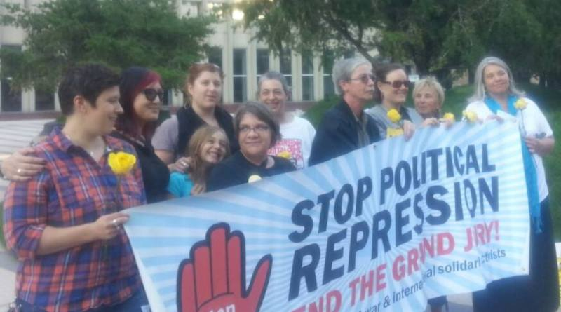 Anti war activists who were raided by the FBI, or called to Grand Jury at Sept. 24 protest in Minneapolis (Photo by Misty Rowan)