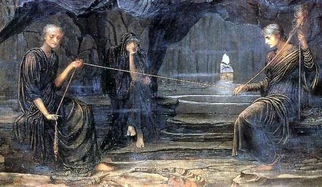 deusas gregas (parcas) fiando o fio da vida