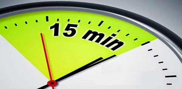 imagem de 15 minutes no relógio