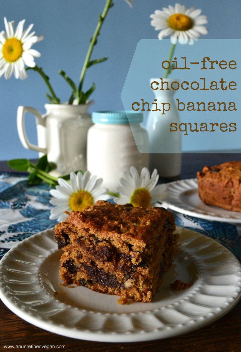 Quick Chocolate Chip Banana Squares (only on Vedged Out)