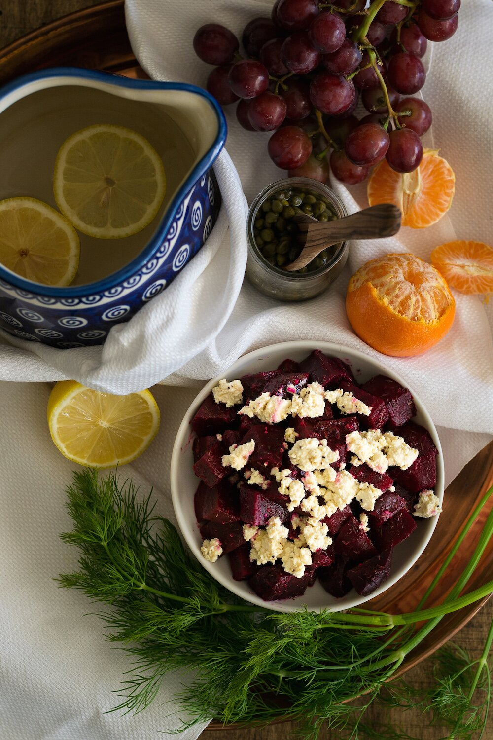 Roasted Beet Salad with Horseradish-Dill Dressing & Tofu Cheez