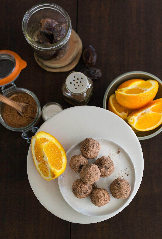 Chocolate Orange Truffles. Nut-free, Oil-free, Gluten-free.