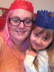 Evie and I in our Cracker Hats