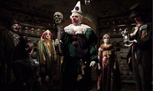 One clown = scary. Many clowns =  crap your pants time!