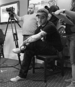 Indie horror filmmaker Andy Stewart (seated)