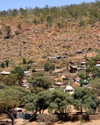 Hillside erosion following deforestation for firewood and overgrazing -  Aksum, Ethiopia