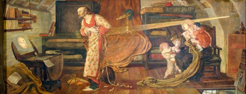 Image: 'Crabtree watching the Transit of Venus A.D. 1639' by Ford Madox Brown; a mural at the Town Hall of Manchester, UK.