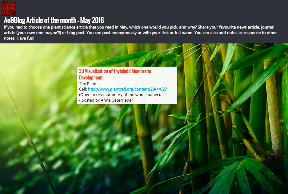 What was your favourite plant science article in May?