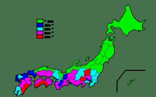日照時間1981~2010年の20年間のデータの日本地図